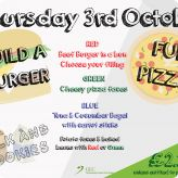 Burger and Pizza Day Coming 3rd October